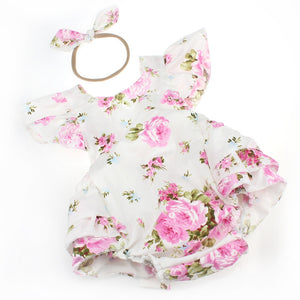White Pink Floral Romper