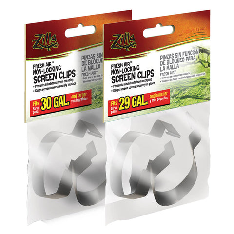 Zilla Reptile Terrarium Covers Non-Locking Screen Clips, 2-Pack