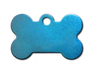 Customizable Blue Anodized Bone Dog Tag (Large)
