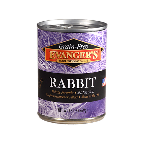 EVANGER'S Grain Free Rabbit for Dogs and Cats (13-Ounce, 12 Pack)