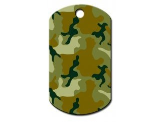 Customizable Green Camo Military Dog Tag (Large)