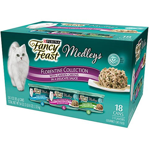 Fancy Feast Purina Medleys Cat Food, Florentine Collection (3-Oz., 18 Case)