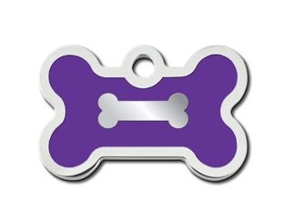 Customizable Chrome w/Purple Epoxy Fill Bone Dog Tag (Small)