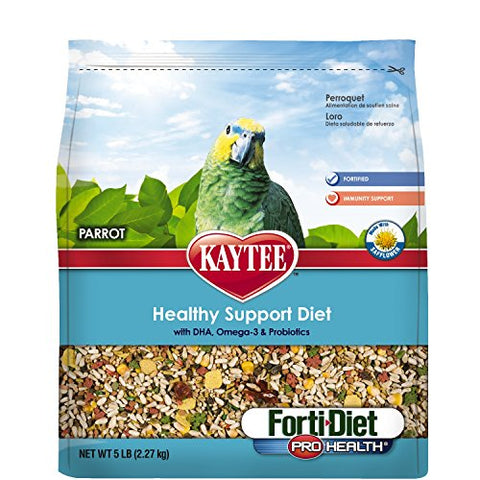 Kaytee Forti Diet Pro Health Bird Food with Safflower for Parrots (5-Lbs.)