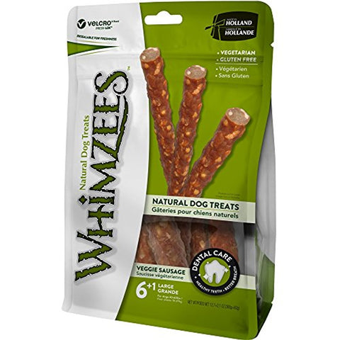 Whimzees  Veggie Sausage Dental Dog Treats (Large)