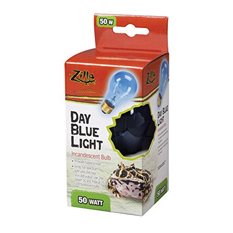 Zilla Reptile Terrarium Heat Lamp Incandescent Bulb, Day Blue (50W)