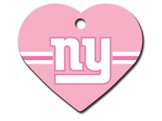 Customizable Pink & Chrome Giants Heart Dog Tag (Large)