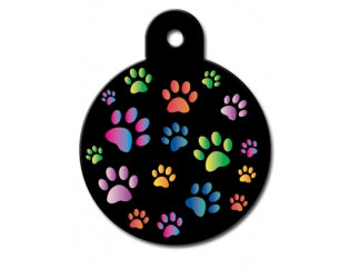 Customizable Painted Multi-Paws Circle Dog Tag (Large)