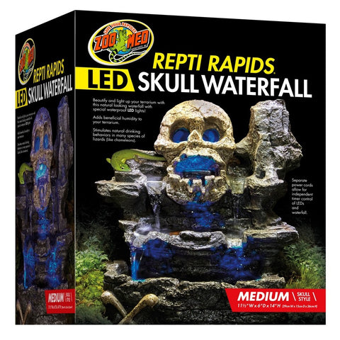 Zoo Med Repti Rapids LED Skull Waterfall Natural Rock Reptiles Terrariums (Medium)