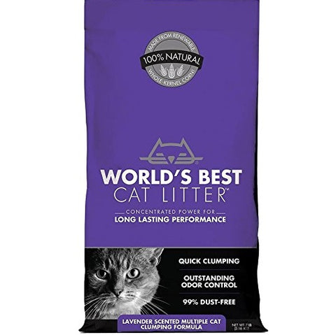 World's Best Cat Litter Cat Lavender Scented Multiple Cat Clumping Formula (7-Lb.)