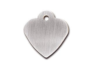 Customizable Brushed Chrome Heart Dog Tag (Small)