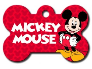 Customizable Mickey Mouse Bone Dog Tag (Large)