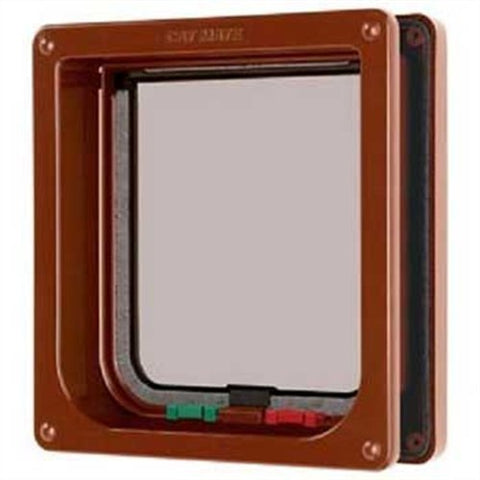 Cat Mate 4 Way Locking Cat Flap with Door Liner- Brown