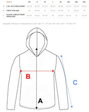 sizing guide for hooded polyester shirts
