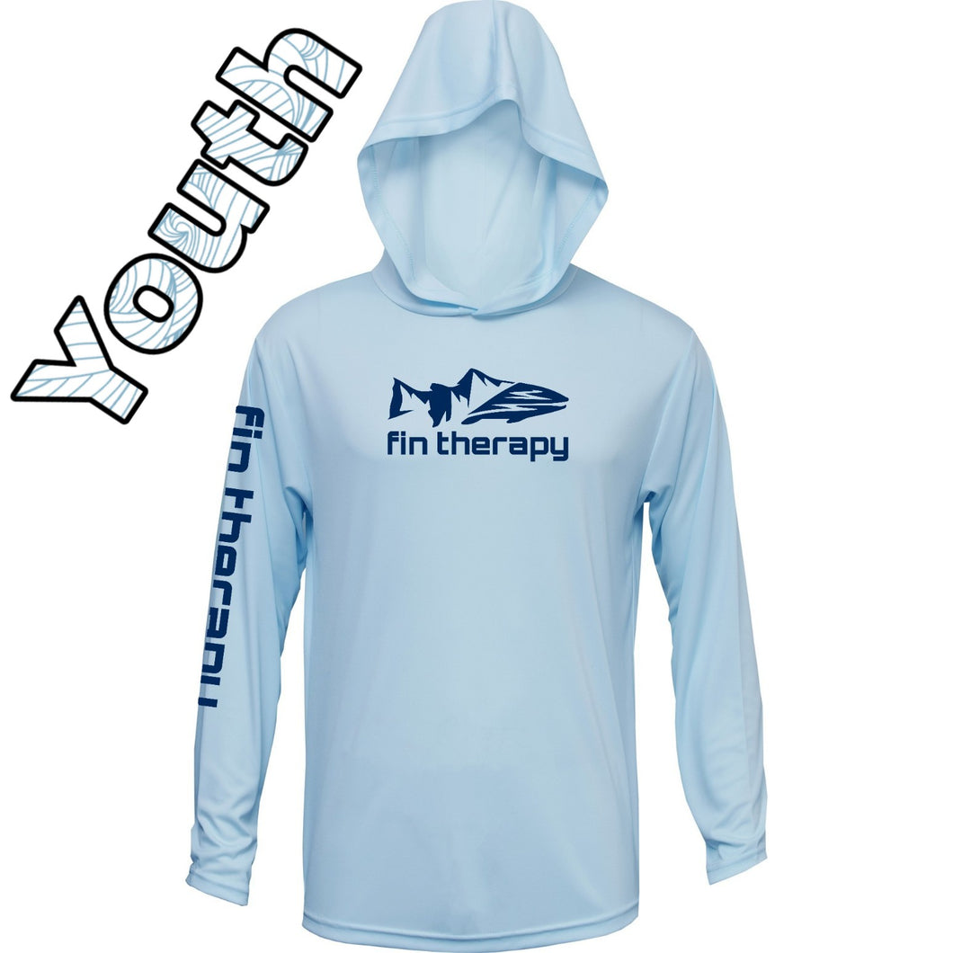 Youth hooded long sleeve | Ice Blue