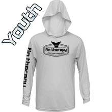 Youth Long Sleeve Fishing Shirt | Hood | Silver