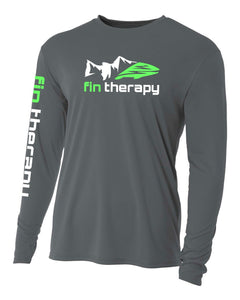 graphite 100 percent polyester shirt with fin therapy logo