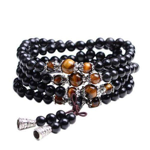 collier bracelet mala 108 bouddhisme bouddha obsidienne perles traditionnel