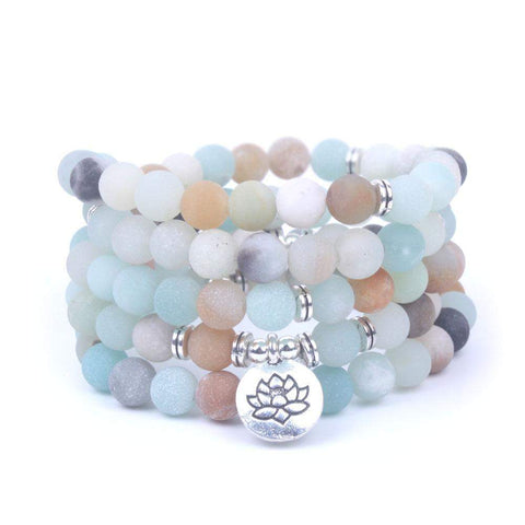 collier bracelet mala 108 bouddhisme lotus amazonite pierre naturelle