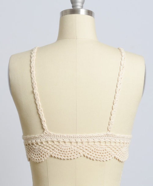 Beige / Natural Hand Knitted Crochet Crop Top - Women's Clothing - [shop name]