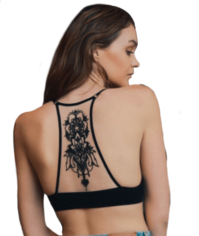 Black Boho Chic Medallion Racerback Bralette - Women's Clothing - [shop name]