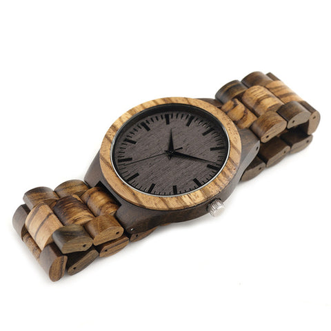 D30 Round Vintage Zebra Wooden Watch for Men