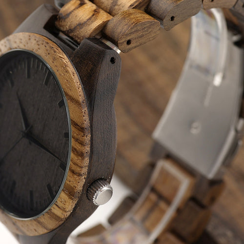 D30 Round Vintage Zebra Wooden Watch for Men - Fashion Accessories - [shop name]