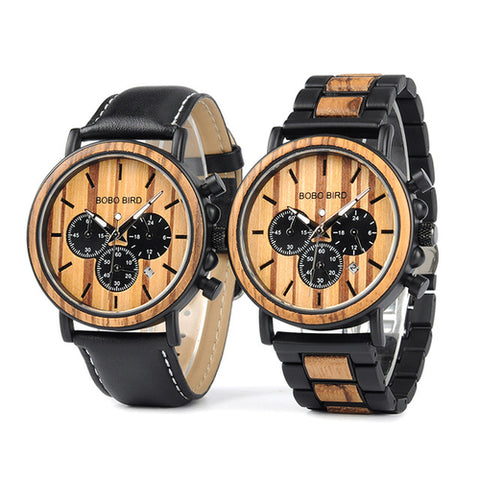 Mens Timeless Watch - Wood and Stainless Steel