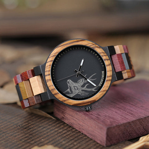 P14-2 Mens Deer Collection Wooden Watch