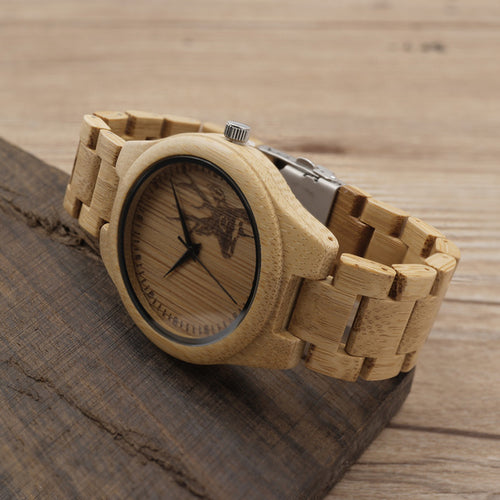 D28 Natural Bamboo Wood Watches With Deer - Fashion Accessories - [shop name]