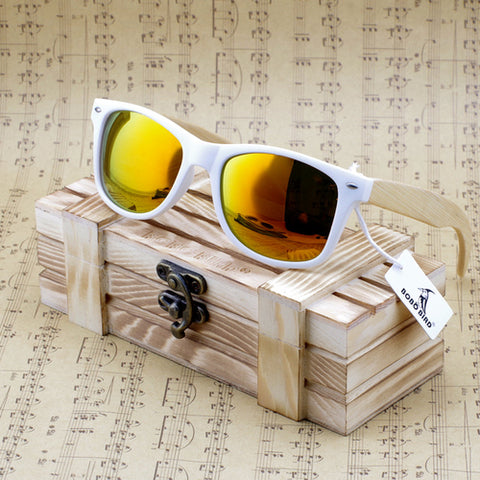 BOBOBIRD: Rectangular Oversized Bamboo Sunglasses