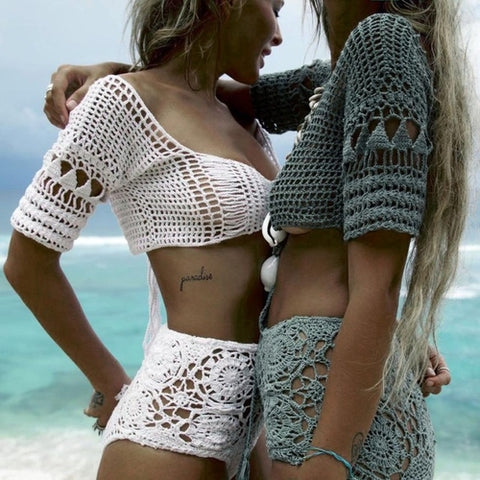 Exquisite Workmanship Crochet Women Knit Bralette - Women's Clothing - [shop name]