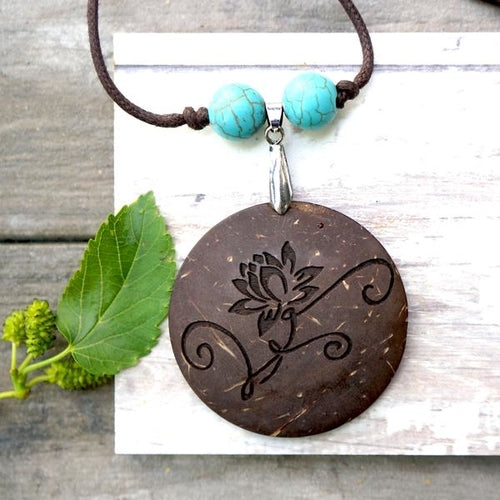 Lotus Flower Yoga Pendant - Recycled Coconut - Jewelry & Watches - [shop name]