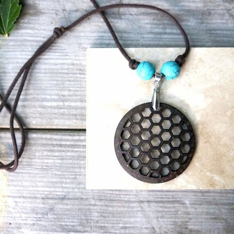 Beehive Pendant Necklace Made From Coconut Shells - Gifts - [shop name]