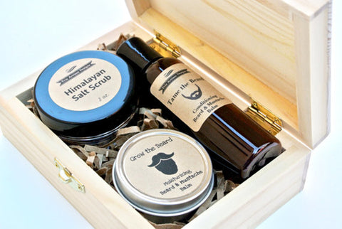 Men's Grooming Gift Set in Wood Box with Beard Oil - Fashion Accessories - [shop name]
