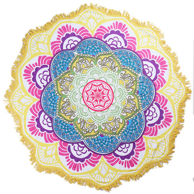 GROOVY MANDALA Beach Towel Tassel - Blanket -  - [shop name]