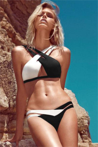 BLACKNWHITE  - Womens Crisscross Double Colored Bikini Swimsuit - Bikinis - [shop name]