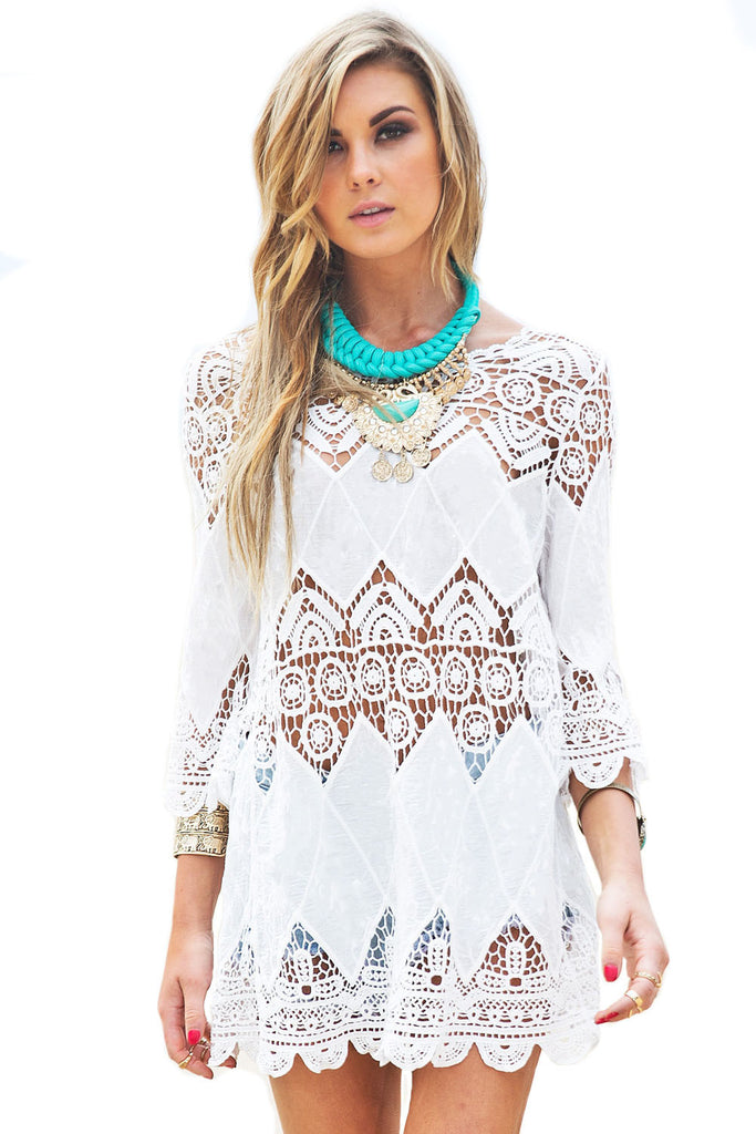APHRODITE  - Bohemian Crochet Beach Tunic White - Dresses - [shop name]