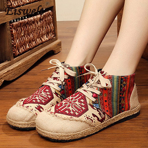 SHAZZAM! Casual Loafers Embroided Linen Hemp Cute Shoes - Shoes - [shop name]