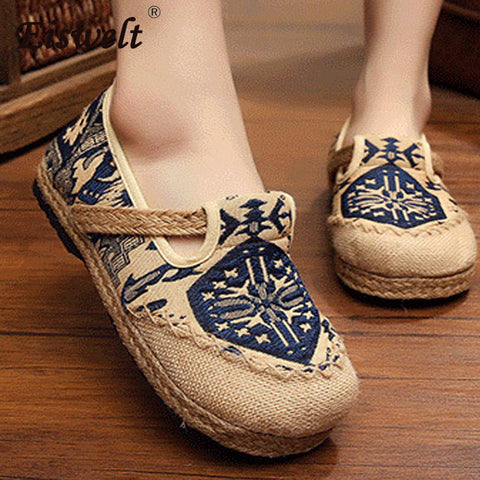 SHAZZAM! Casual Loafers Embroided Linen Hemp Cute Shoes