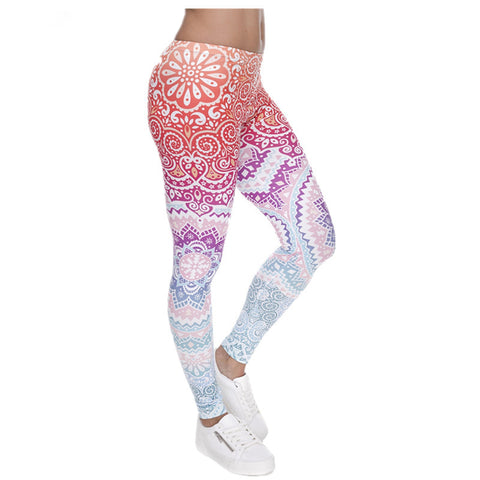 MUNDIAL - Yoga/Fitness Bright Leggings - Indian Inspired Design - Shaka Surf