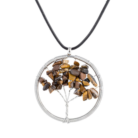Natural Gemstone 4 Chakra Healing Tree Pendant Necklace - Handmade - Jewelry - [shop name]