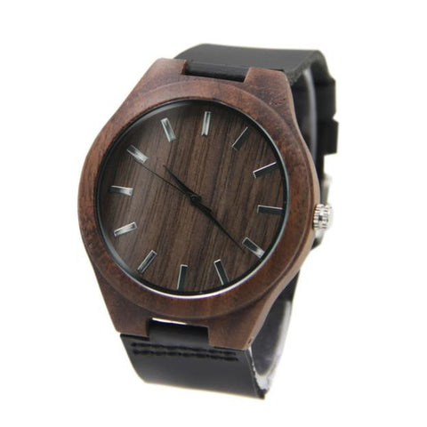 SMOKED - Modern Vintage Bamboo Watch with Leather Strap - Watches - [shop name]