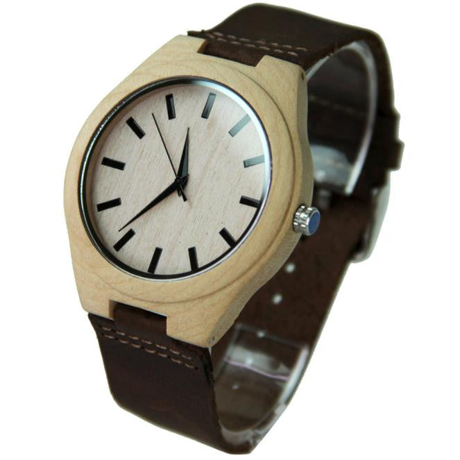 OFFSHORE - Light Bamboo Face Watch with Leather Strap - Watches - [shop name]