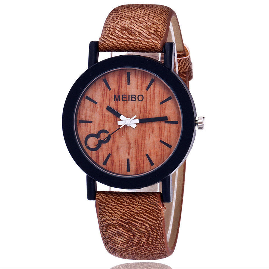 MEIBO Wooden Quartz Unisex Watch - Textured Strap