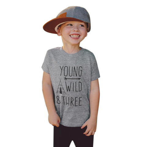 YOUNGGROMS - Boys Young Wild & Three Print T-Shirt - Grey Cotton - T Shirts - [shop name]