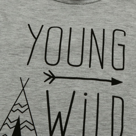 YOUNGGROMS - Boys Young Wild & Three Print T-Shirt - Grey Cotton