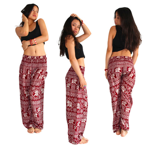 Women's Elephant Design Loose Fit Yoga Harem Style Pants/ Palazzo Pants - Shaka Surf