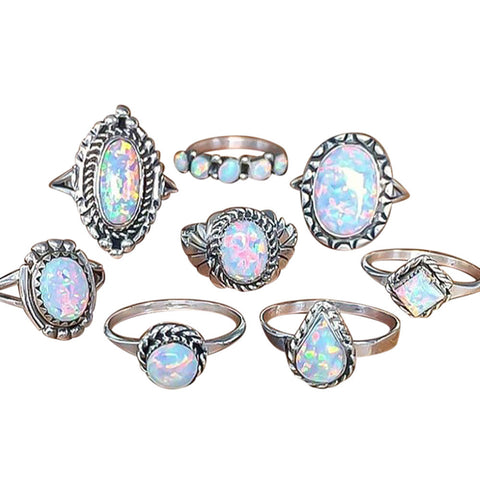 TWILIGHT - 8Pcs Rings Set Natural Gemstone Fire Opal Diamond Ring