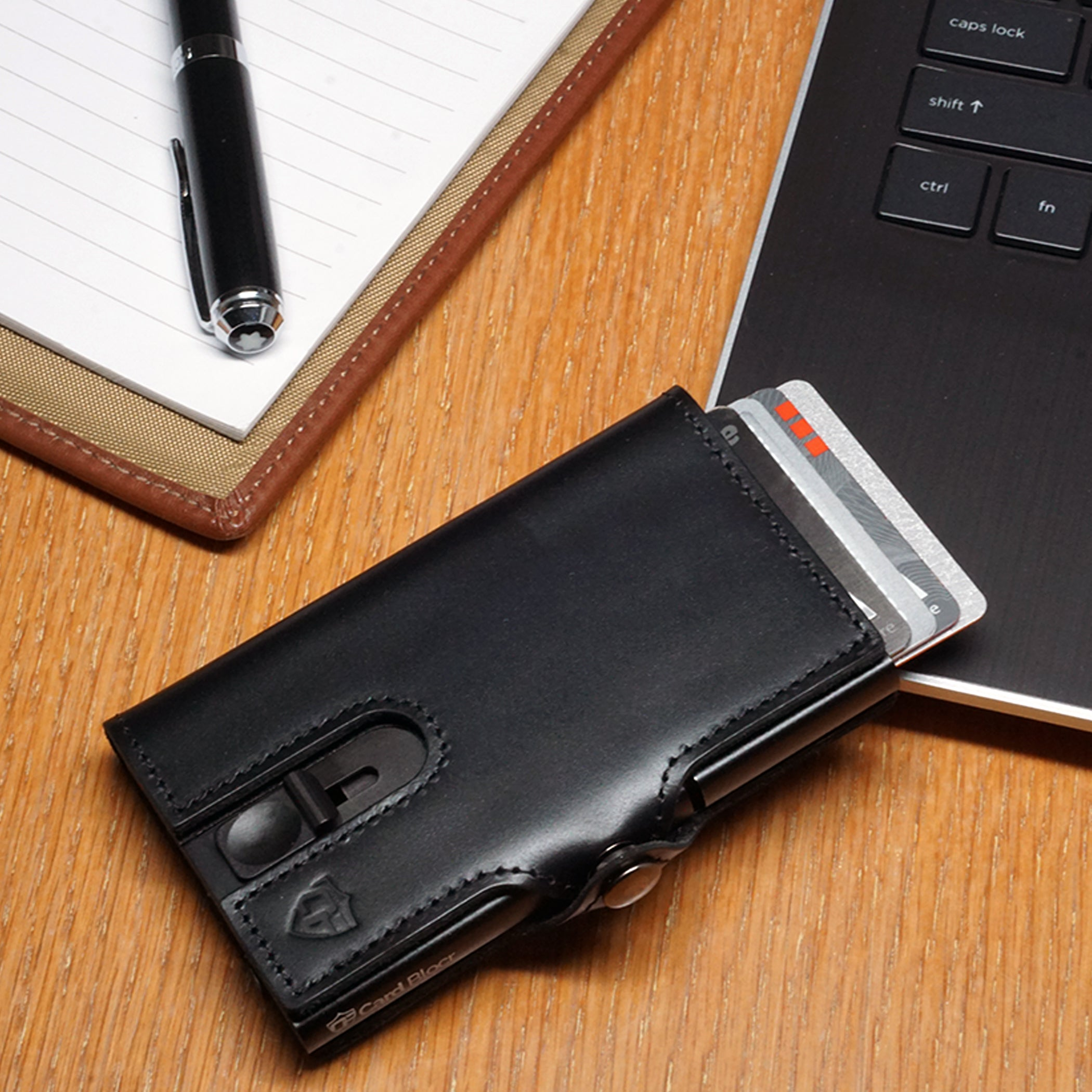 Card Blocr Credit Card Wallet in Black Leather | RFID Wallet Cards Out